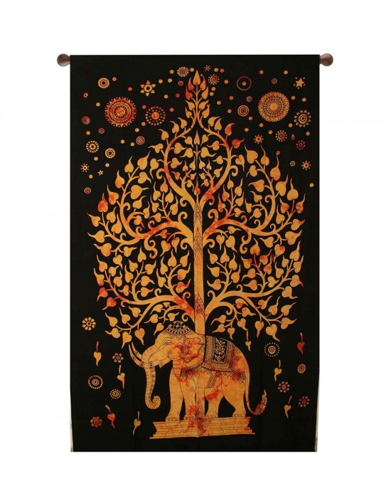 INDIAN ELEPHANT TAPESTRY BED SHEET BED SPREAD WALLHANGING COTTON 82 x 54 YELLOW