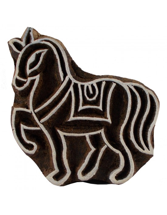 Horse Handcarved Indian Wooden Stamps Brown Printing Block Textile Stamp For Cla