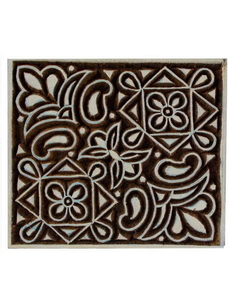 Geometric Square Textile Printing Handmade Wooden Block