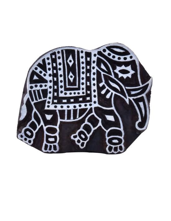 Indian Decorative Elephant Wooden Block Textile Clay