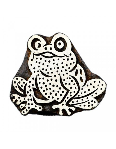 Indian Handmade Wooden Printing Frog Block Stamp