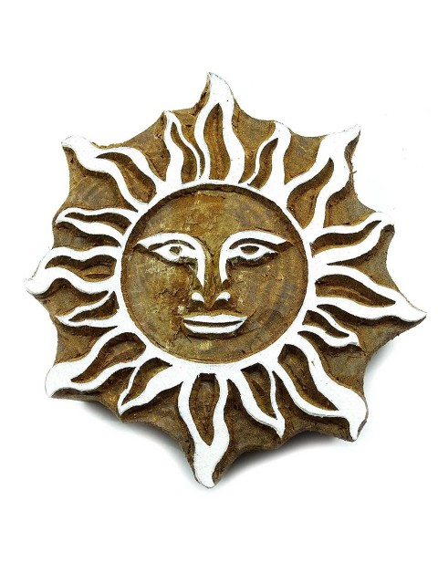 Sun Wooden Block Handcarved Wooden Textile Printing Block