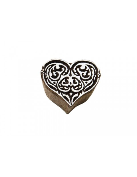 Tribal Heart Block Hancrafted Wooden Textile Printing Block