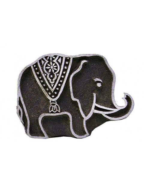 Tiny Elephant Hancarved Wooden Textile Printing Scrapbook Block