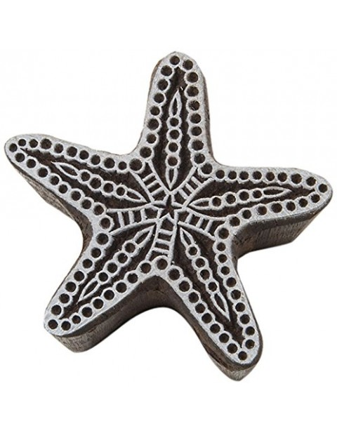 Star Fish Handcrafted Wooden Textile Printing Scrapbook Block