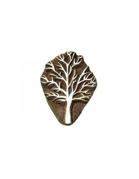 Handcrafted Wooden Small Tree Textile Printing Scrapbook Block