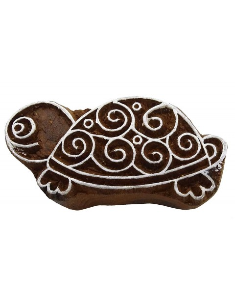 Indian Hand Carved Tortoise Wooden Textile Printing Scrapbook Block