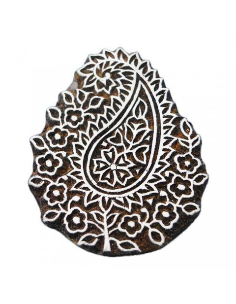 Handcarved Wooden Textile Printing Paisley Scrapbook Block