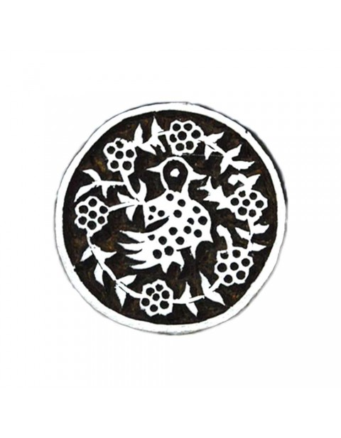 Indian Hand Carved Circular Wooden Textile Printing Scrapbook Block