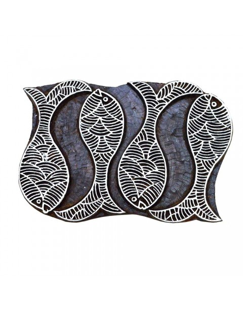 Carved Fishes Wooden Textile Printing Scrapbook Block