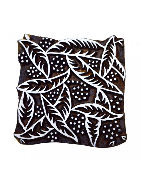 Handcarved Leaves Wooden Textile Printing Scrapbook Block