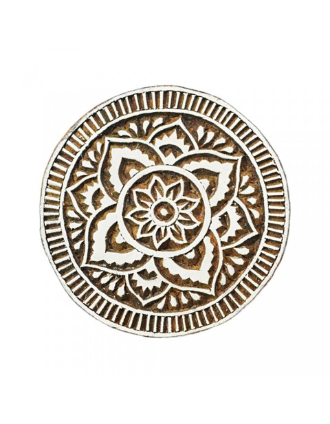 Circular Round Wooden Printing Textile Block Tattoo Stamps
