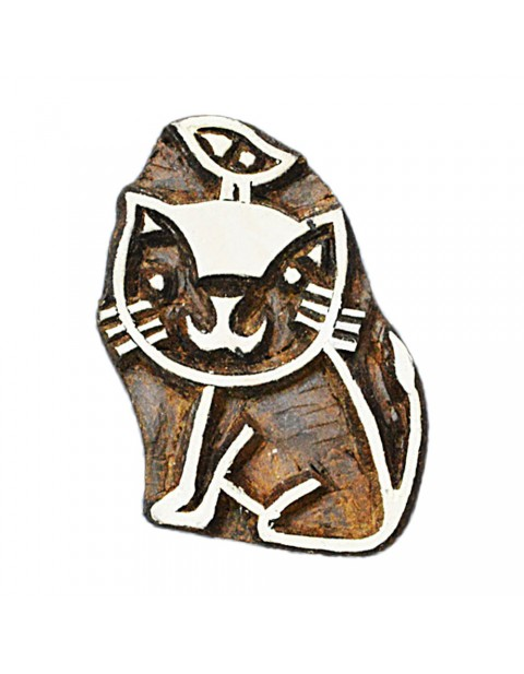 Handmade Cat wooden Textile Printing Block Stamps