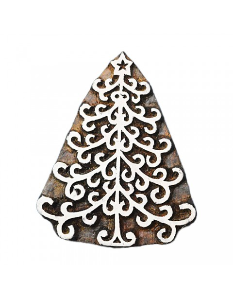 Handcarved Christmas Tree Printing Textile Block