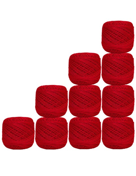 Crochet Thread 10 Pcs Cotton Knitting Red Mercerized Embroidery Yarn Tatting Doilies Craft