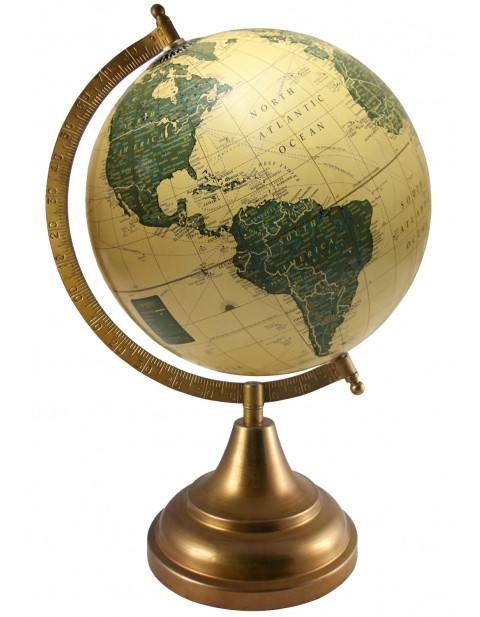 Antique Decorative Map Beige Earth 8 Inches Diameter Geography Globe