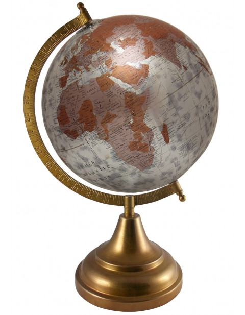 Rotating World Metallic Silver Tabletop 8 Inches Diameter Globe Geography