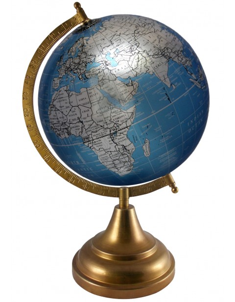 Educational Metallic Blue World 8 Inches Diameter Globe Home Decor