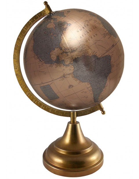 Political Map Metallic Bronze Earth Tabletop 8 Inches Diameter Globe