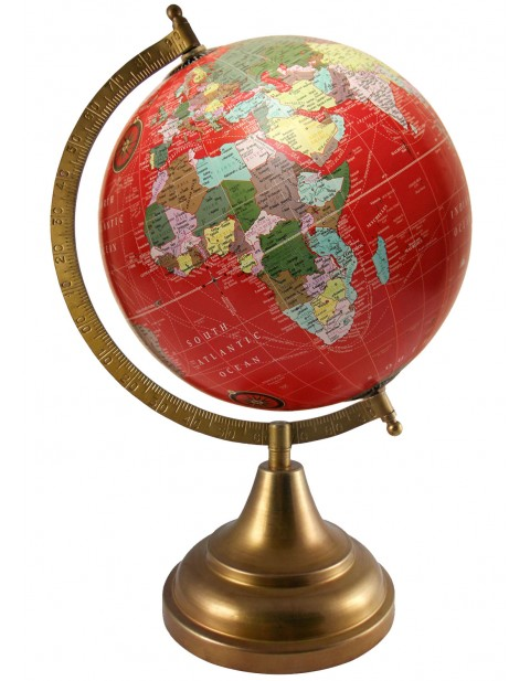Rotating Globe Red Earth Tabletop 8 Inches Diameter World Map