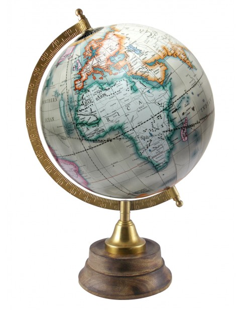 Off-White Globe Rotating Globes World Map 8 Inches Diameter Office Decor