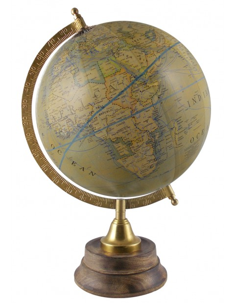 Decorative Antique Earth Olive Green Rotating Globe 8 Inches Diameter