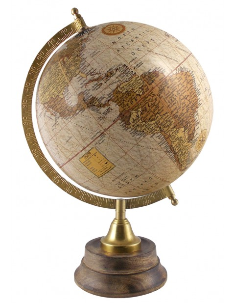 Antique Beige Rotating Globe 8 Inches Diameter Educational Earth