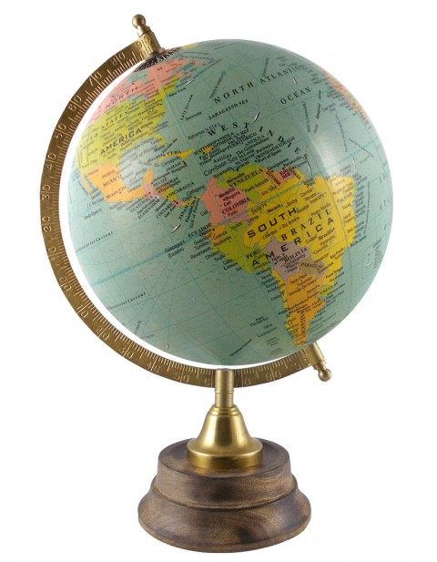 Turquoise Rotating Geography Globe Desktop 8 Inches Diameter