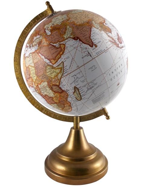 White Decorative Earth 8 Inches Diameter Tabletop Globe Desktop