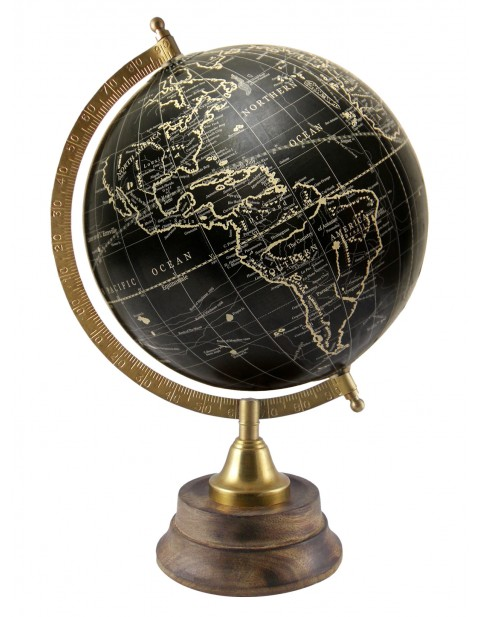 Antique Desktop Black Geography Globe 8 Inches Diameter Rotating World