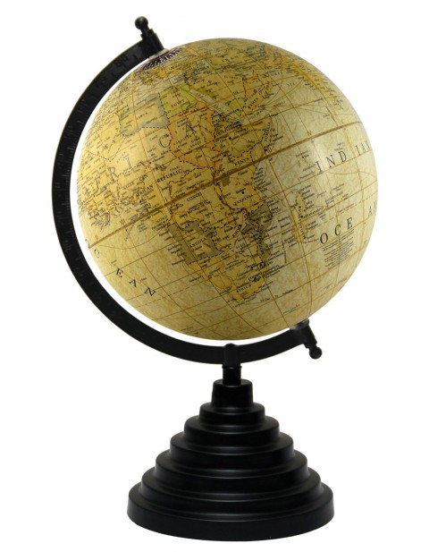 Light Yellow World Map Table Top Earth 8 Inches Diameter