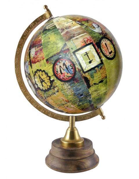 Handmade Multicolor Rotating Globe Table Top Home Office Decor