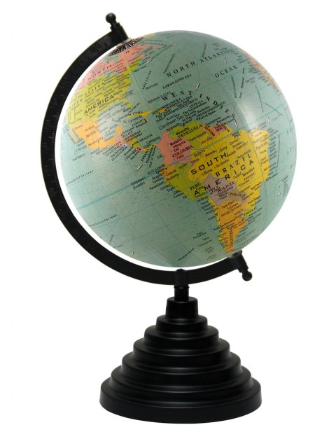 Turquoise World Map Table Top Earth 8 Inches Diameter