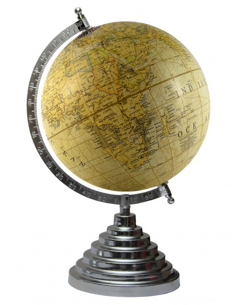 Light Yellow Globe World Decorative Earth Antique 8 Inches Diameter