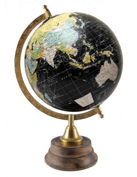 Black Educational Tabletop Globe Map 8 Inches Diameter Rotating Earth