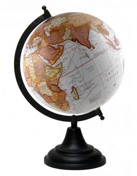 White World Map Geography Table Top Earth 8 Inches Diameter