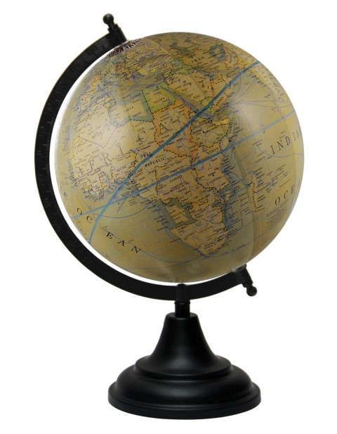 Olive Green Globe World Decorative Earth Antique 8 Inches Diameter