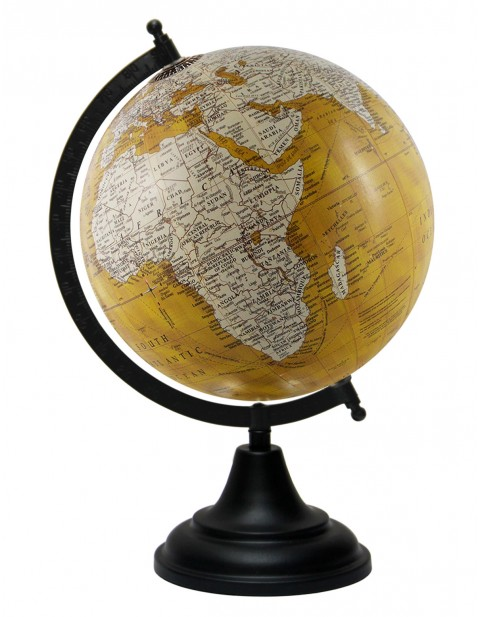 Yellow World Map Geography Table Top Earth 8 Inches Diameter