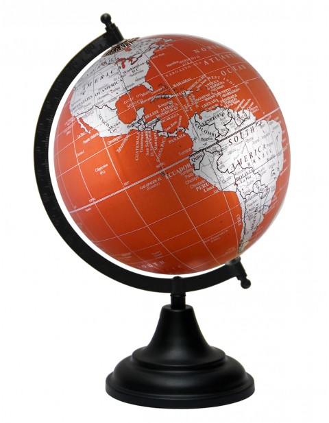 Metallic Orange World Map Geography Table Top Earth 8 Inches Diameter