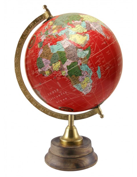 World Geography Red Desktop Globe 8 Inches Diameter Rotating Map