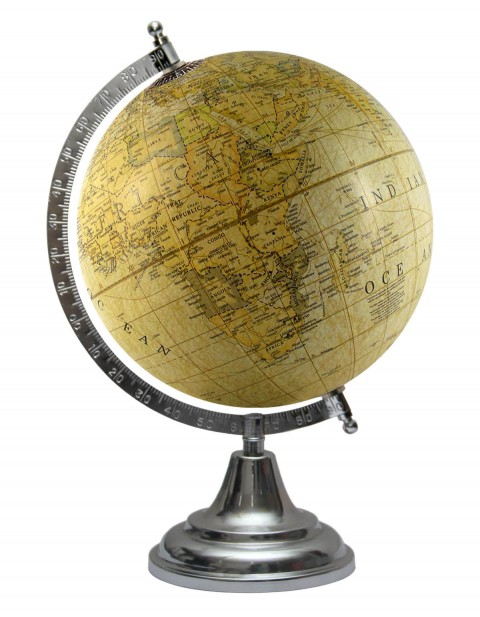 8 Inches Diameter Light Yellow World Globe Geography Table Top Yellow Earth