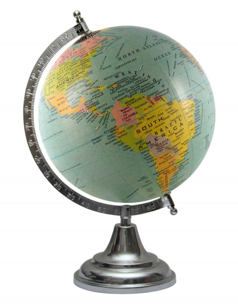 Turquoise World Map Geography Table Top Earth 8 Inches Diameter