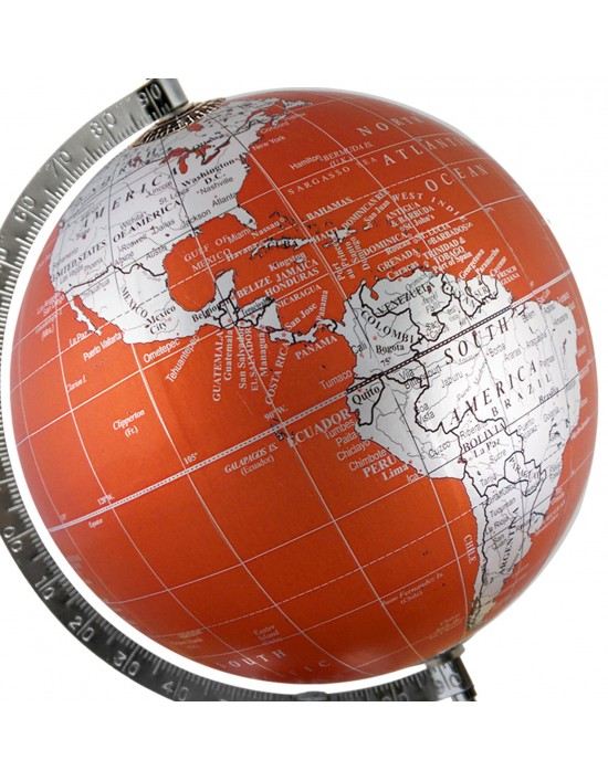 Metallic orange world map geography table top earth 8 inches diameter gumiabroncs Gallery