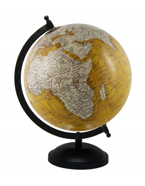 Handmade Rotating Yellow Globe Tabletop Ocean Home Office Decor