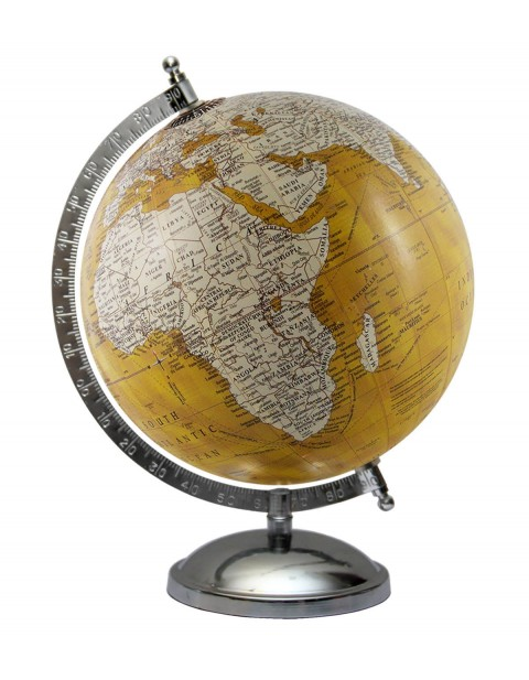 Rotating Handmade Globe Yellow Tabletop Ocean Home Office Decor