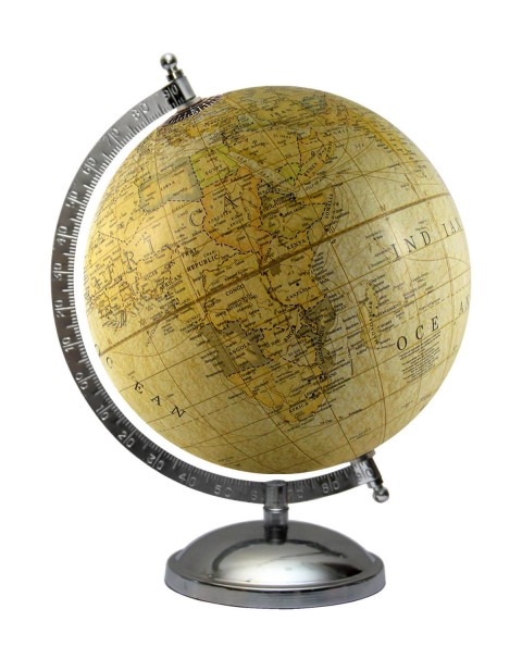 Geography 8 Inches Diameter Light Yellow World Globe Table Top Earth