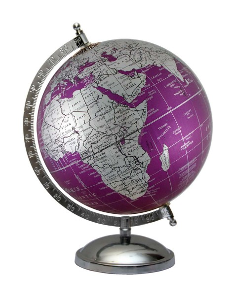 Metallic Purple World Map Geography Table Top Earth 8 Inches Diameter