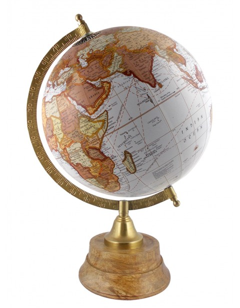 Geography 8 Inches Diameter White World Globe Table Top Earth