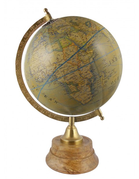 Rotating Handmade Globe Olive Green Tabletop Ocean Home Office Décor