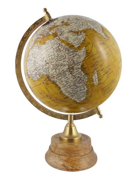 Educational Globe Geography Table Top Yellow Earth 8 Inches Diameter